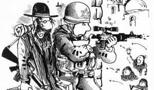 קריקטורה: חרדי דוחק בחייל לירות בפלסטינים