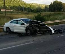 רכבו של המנהל לאחר התאונה