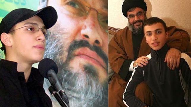 ג'יאהד מורנייה - מימין עם נסראללה ומשמאל על רקע תמונת אביו