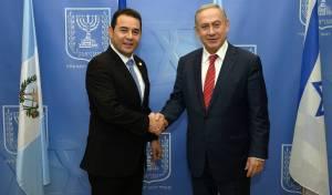 נתניהו ונשיא גואטמלה  מוראלס - בעקבות טראמפ: גואטמלה תעביר את השגרירות לירושלים
