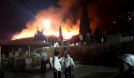 שריפה גדולה בבית העלמין בצפת • תיעוד