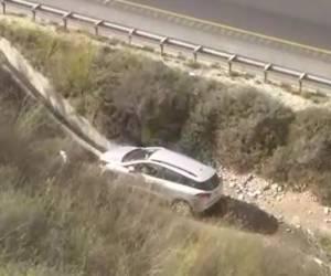 כך המסוק המשטרתי איתר את הנהג שנפל עם רכבו לתעלה • צפו