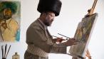 האומן החרדי מוטי ברים בסטודיו
