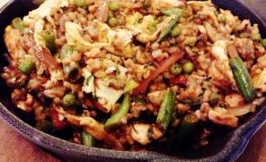 תבשיל אורז בר, שעועית ואפונה