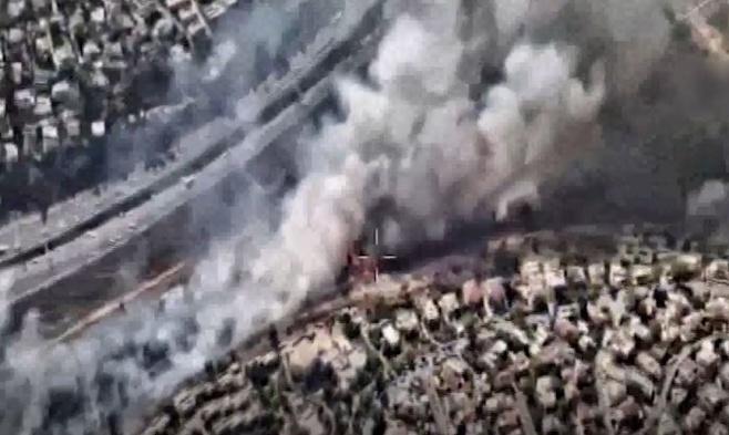 המסוק המשטרתי תיעד: השריפה במבשרת