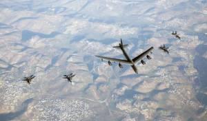 המפציץ בדרך למפרץ לווה ב-F35 ישראלים