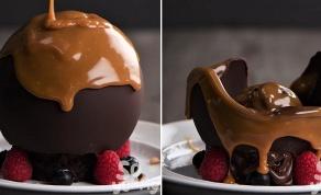 כדור שוקולד נמס עם הפתעות מתוקות בפנים - מרשים - ולא באמת מסובך: כדור שוקולד נמס