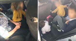 נהגה ללא רישיון כשחמשת ילדיה לא חגורים