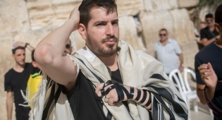 משה חוגג בכותל המערבי, בשבוע שעבר