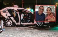 האם, הבעל והתינוקת על רקע זירת התאונה