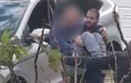 שוטרים חילצו נהג שנתקע עם רכב בשלולית