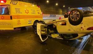 נהג מונית התהפך בנתיבי איילון דרום ונהרג