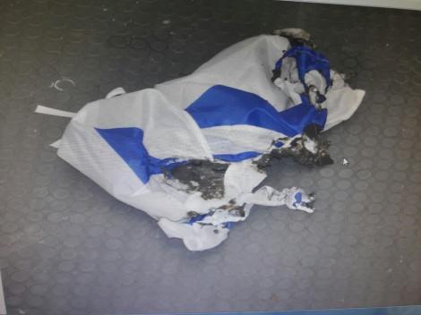 """גם דגל ישראל הושחת בידי העצור - תושב ר""""ג תלש מזוזות וריסס """"אללה אכבר"""""""