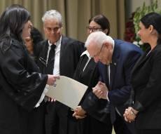 הנשיא ראובן ריבלין והשופטת החרדית חוי טוקר, היום - הנשיא  קד בפני השופטת החרדית הראשונה