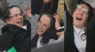 משיכת הנער בפאות - אזרחים נאבקו לפנות את המפגינים; נער נגרר עם פאותיו