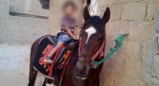 ילדה של סאברין על הסוס המשפחתי בחצר המשפחה בלוב