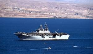 ספינת צי אמריקנית אתמול ליד אילת