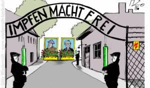 """""""החיסון משחרר"""", בקריקטורה על שערי אושוויץ"""