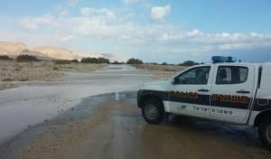 כביש 90 ליד מלונות ים המלח הוצף ונחסם