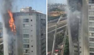 צפו: בניין מגורים ברמת גן עולה בלהבות