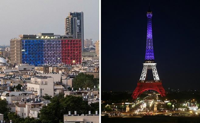 תל אביב ומגדל אייפל הוארו בצבעי הדגל הצרפתי. צפו