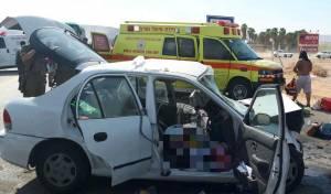 זירת התאונה המחרידה - שבעה פצועים בתאונה חזיתית בכביש מס'  1