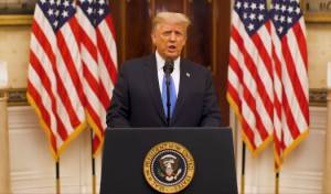 טראמפ אתמול בנאום הפרידה שלו