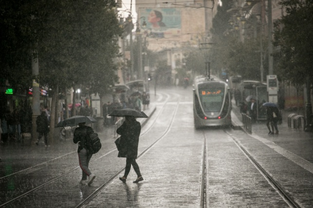 גשם בשבוע שעבר בירושלים