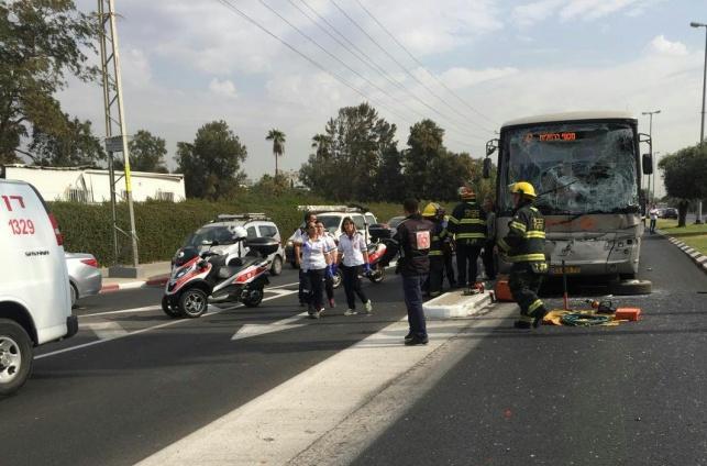 תאונה בין אוטובוס למשאית: 18 נפגעים קל