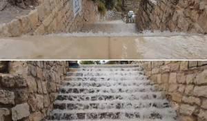 וואו: גשמי הברכה במדרגות של צפת • צפו