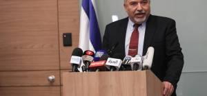 אביגדור ליברמן במסיבת העיתונאים