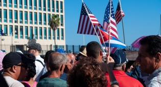 הפגנה בשגרירות האמריקנית בהוואנה בירת קובה, בתקופת אובמה
