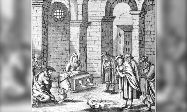 ציור דמיוני של שבתי צבי מקבל אורחים בעת מאסרו