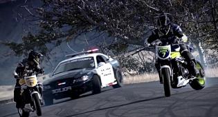 מרדף משטרתי - צפו: ניידת משטרה נגד שני אופנוענים