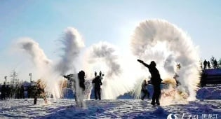 צפון סין: מים רותחים הופכים לקרח באוויר