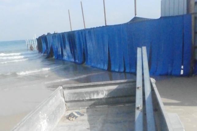 מיקום עבודות הארכת המחיצה בחוף
