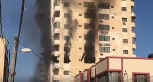 רקטה של הג'יהאד פגעה בבניין בעזה • צפו