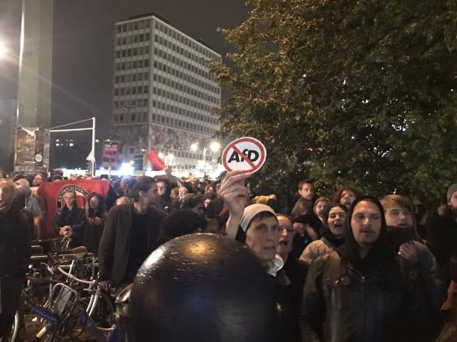 """מפגינים נגד מפלגת הימין הקיצוני """"נאצים החוצה"""""""