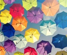מטריות בכלפה. אילוסטרציה - החורף כאן: מטריה הפוכה בצבעים שונים במחיר לא רגיל