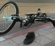 האופניים בזירת התאונה - בדרך לחיידר: ילד בן 9 נפצע באורח בינוני