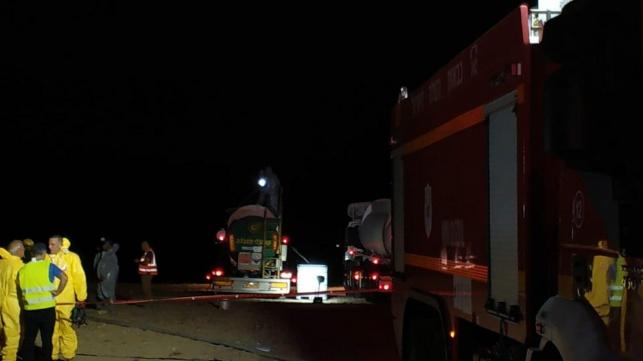 דימונה: חשש לדליפת חומר מסוכן ממשאית