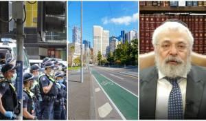 """מימין לשמאל: הגר""""י אולמאן בראיון; העיר מלבורן ריקה מאדם; כוחות משטרה אוכפים את הסגר"""