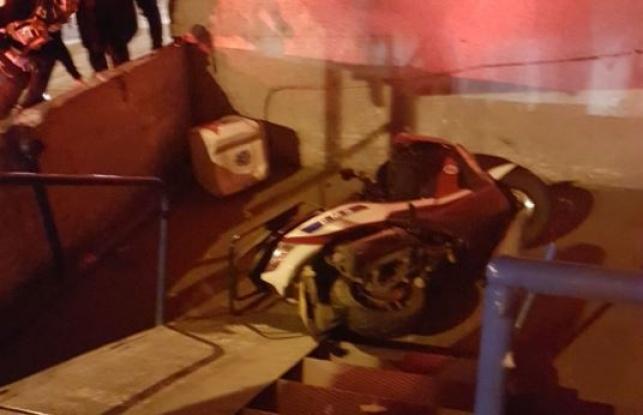 זירת התאונה - כונן 'איחוד הצלה' נפצע בדרך לאירוע חירום