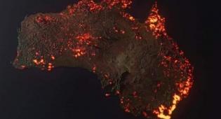 הדמיה של השריפות באוסטרליה מלווין של נאסא
