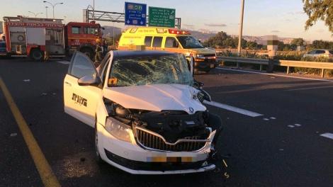 זירת התאונה - מחלף אתא: בן 70 נהרג בתאונה חזיתית