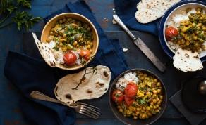 תבשיל חומוס ואורז פרסי עם עשבי תיבול