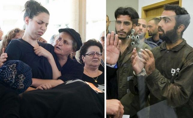 בני המשפחה בהלוייה, והמחבלים הרוצחים בבית המשפט