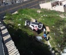 זירת התהפכות הנהג השיכור בשכונת חפציבה - שיכור הרג ופצע, ונפל עם רכבו בלב השכונה