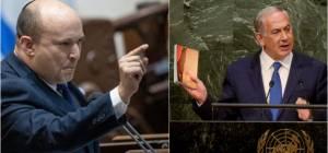 """מימין: נתניהו באו""""ם. משמאל בנט"""