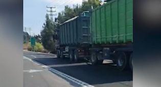 משאית פול טריילר אותרה עם תקלה בבלמים